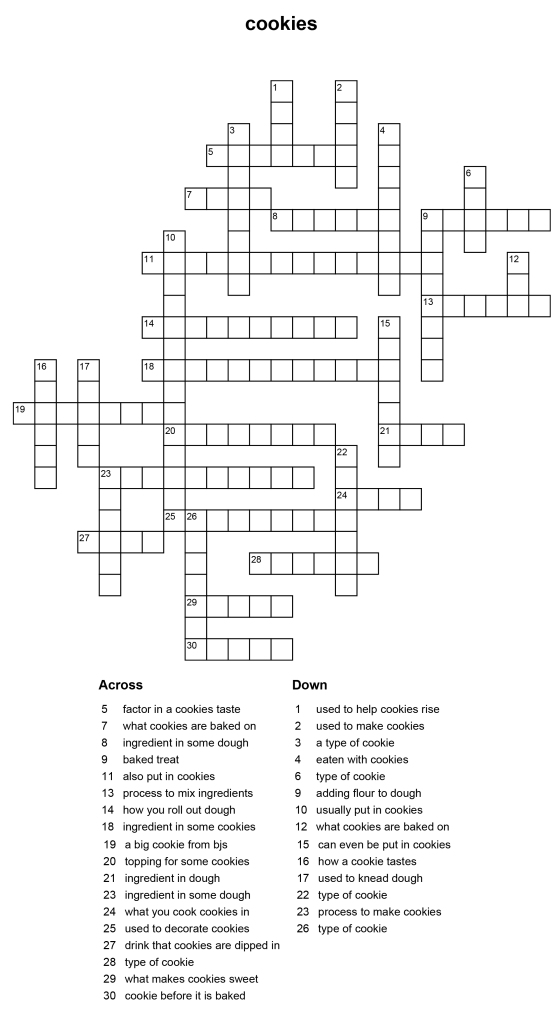 Cookies Crossword Puzzle